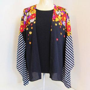 Bob Mackie Wearable Art-Flowers-Kimono Chiffon Top